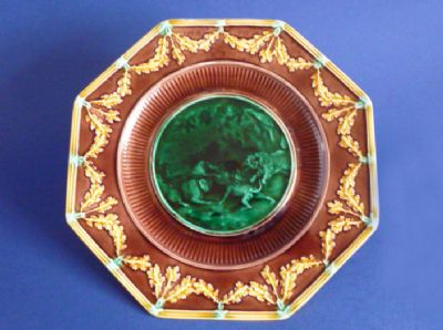 Wedgwood Majolica 'Email Ombrant' Lions Octagonal Plate c1867